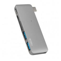 WIWU Adapter C1 Plus USB-C to USB-C+SD+2xUSB3.0 HUB Gray