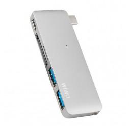 WIWU Adapter C1 Plus USB-C to USB-C+SD+2xUSB3.0 HUB Silver