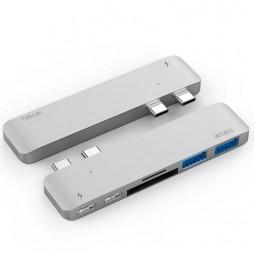 WIWU Adapter H2 USB-C to Dual USB-C+SD+microSD+2xUSB3.0 HUB Silver