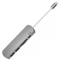 WIWU Adapter T2 Plus USB-C to USB-C+microSD+SD+2xUSB3.0 HUB Gray
