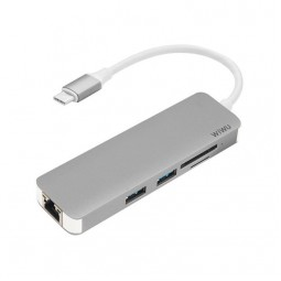 WIWU Adapter T4 USB-C to USB-C+RJ45+SD+2xUSB3.0 HUB Gray