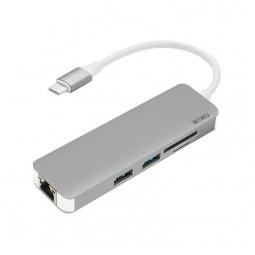WIWU Adapter T4 USB-C to USB-C+RJ45+SD+2xUSB3.0 HUB Gray