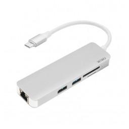 WIWU Adapter T4 USB-C to USB-C+RJ45+SD+2xUSB3.0 HUB Silver