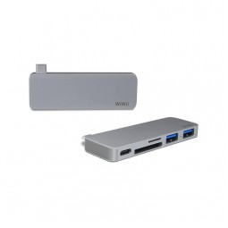 WIWU Adapter T6 USB-C to USB-C+SD+2xUSB3.0 HUB Gray
