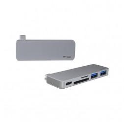 WIWU Adapter T6 USB-C to USB-C+SD+2xUSB3.0 HUB Gray