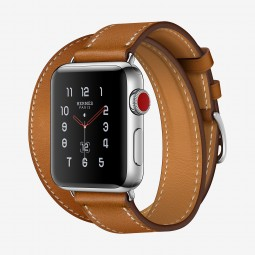 Apple Watch Hermes 38mm Series 3 GPS+Cellular Stainless Steel Case with Fauve Barenia Double Tour (MQLJ2, MQML2)