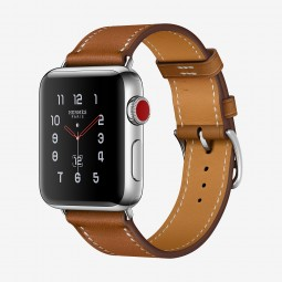 Apple Watch Hermes 38mm Series 3 GPS+Cellular Stainless Steel Case with Fauve Barenia Single Tour (MQLM2, MQMP2)