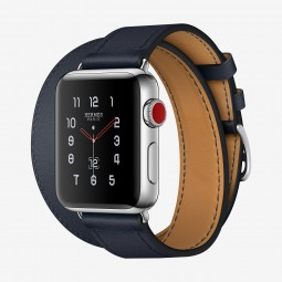 Apple Watch Hermes 38mm Series 3 GPS+Cellular Stainless Steel Case with Indigo Swift Double Tour (MQLK2, MQMM2)