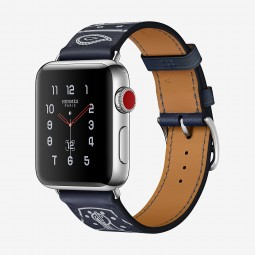 Apple Watch Hermes 38mm Series 3 GPS+Cellular Stainless Steel Case with Marine Gala Single Tour Eperon d'Or (MQLN2, MQMQ2)