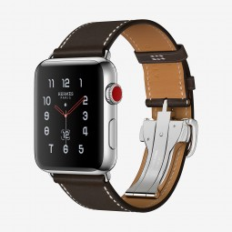 Apple Watch Hermes 42mm Series 3 GPS+Cellular Stainless Steel Case with Ebene Barenia Single Tour Deployment Buckle (MQLT2, MQMV2)