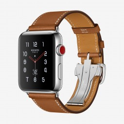 Apple Watch Hermes 42mm Series 3 GPS+Cellular Stainless Steel Case with Fauve Barenia Single Tour Deployment Buckle (MQLR2, MQMU2)