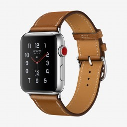 Apple Watch Hermes 42mm Series 3 GPS+Cellular Stainless Steel Case with Fauve Barenia Single Tour (MQLP2, MQMR2)