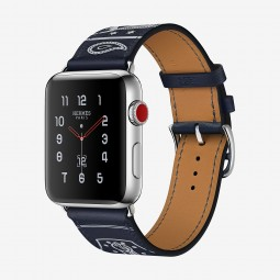 Apple Watch Hermes 42mm Series 3 GPS+Cellular Stainless Steel Case with Marine Gala Single Tour Eperon d'Or (MQX62, MQX72)