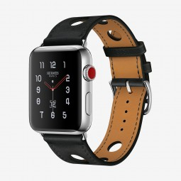 Apple Watch Hermes 42mm Series 3 GPS+Cellular Stainless Steel Case with Noir Gala Single Tour Rallye (MQLU2, MQMW2)