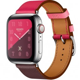 Apple Watch Hermes 40mm Series 4 GPS+Cellular Stainless Steel Case with Bordeaux/Rose Extrême/Rose Azalée Swift Leather Single Tour (MU6N2)