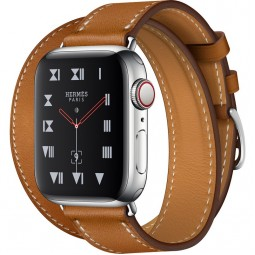 Apple Watch Hermes 40mm Series 4 GPS+Cellular Stainless Steel Case with Fauve Barenia Leather Double Tour (MU6P2)