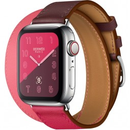 Apple Watch Hermes 40mm Series 4 GPS+Cellular Stainless Steel Case with Bordeaux/Rose Extrême/Rose Azalée Swift Leather Double Tour (MU6R2)