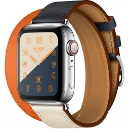 Apple Watch Hermes 40mm Series 4 GPS+Cellular Stainless Steel Case with Indigo/Craie/Orange Swift Leather Double Tour (MU7K2)