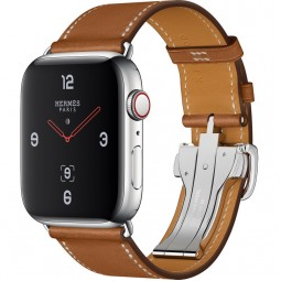 Apple Watch Hermes 44mm Series 4 GPS+Cellular Stainless Steel Case with Fauve Barenia Leather Single Tour Deployment Buckle (MU6T2)