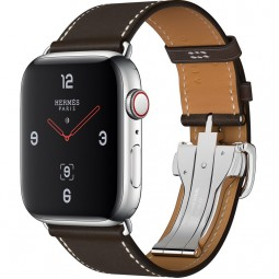 Apple Watch Hermes 44mm Series 4 GPS+Cellular Stainless Steel Case with Ébène Barenia Leather Single Tour Deployment Buckle (MU6U2)