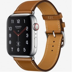 Apple Watch Hermes 44mm Series 4 GPS+Cellular Stainless Steel Case with Fauve Barenia Leather Single Tour (MU6V2)