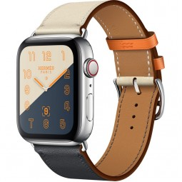 Apple Watch Hermes 44mm Series 4 GPS+Cellular Stainless Steel Case with Indigo/Craie/Orange Swift Leather Single Tour (MU6X2)