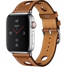 Apple Watch Hermes 44mm Series 4 GPS+Cellular Stainless Steel Case with Fauve Grained Barenia Leather Single Tour Rallye (MU9D2)