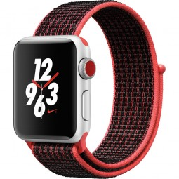 Apple Watch Nike+ 38mm Series 3 GPS+Cellular Silver Aluminum Case with Bright Crimson/BlackSport Loop (MQL72)