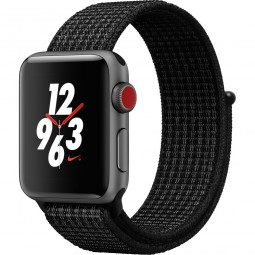Apple Watch Nike+ 38mm Series 3 GPS+Cellular Space Gray Aluminum Case with Black/Pure PlatinumSport Loop (MQL82)