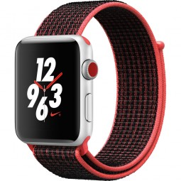 Apple Watch Nike+ 42mm Series 3 GPS+Cellular Silver Aluminum Case with Bright Crimson/BlackSport Loop (MQLE2)