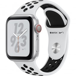 Apple Watch Nike+ 40mm Series 4 GPS+Cellular Silver Aluminum Case with Pure Platinum/Black Nike Sport Band (MTV92)