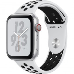 Apple Watch Nike+ 44mm Series 4 GPS+Cellular Silver Aluminum Case with Pure Platinum/Black Nike Sport Band (MTXC2)