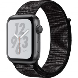 Apple Watch Nike+ 44mm Series 4 GPS Space Gray Aluminum Case with Black Nike Sport Band (MU7J2)