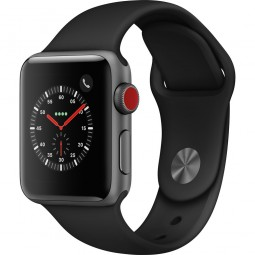 Apple Watch 38mm Series 3 GPS+Cellular Space Gray Aluminum Case with Black Sport Band (MQJP2)