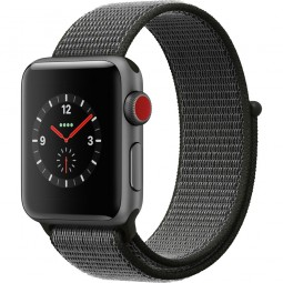 Apple Watch 38mm Series 3 GPS+Cellular Space Gray Aluminum Case with Dark Olive Sport Loop (MQJT2)