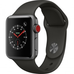 Apple Watch 38mm Series 3 GPS+Cellular Space Gray Aluminum Case with Gray Sport Band (MR2W2)