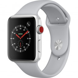Apple Watch 42mm Series 3 GPS+Cellular Silver Aluminum Case with Fog Sport Band (MQK12, MQKM2)