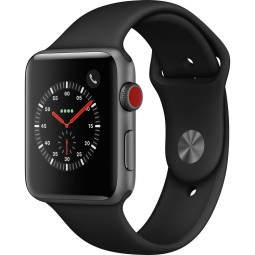 Apple Watch 42mm Series 3 GPS+Cellular Space Gray Aluminum Case with Black Sport Band (MQK22)