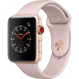 Apple Watch 42mm Series 3 GPS+Cellular Gold Aluminum Case with Pink Sand Sport Band (MQK32)