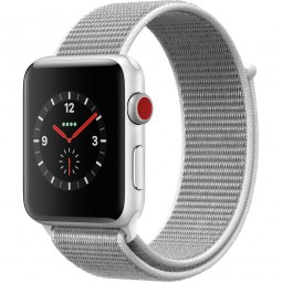 Apple Watch 42mm Series 3 GPS+Cellular Silver Aluminum Case with Seashell Sport Loop (MQK52, MQKQ2)