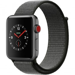 Apple Watch 42mm Series 3 GPS+Cellular Space Gray Aluminum Case with Dark Olive Sport Loop (MQK62)