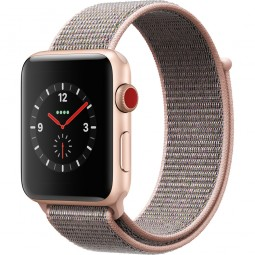 Apple Watch 42mm Series 3 GPS+Cellular Gold Aluminum Case with Pink Sand Sport Loop (MQK72, MQKT2)