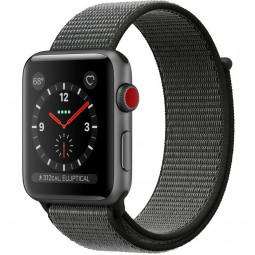 Apple Watch 42mm Series 3 GPS+Cellular Space Gray Aluminum Case with Dark Olive Sport Loop (MQKR2)