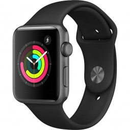 Apple Watch 42mm Series 3 GPS Space Gray Aluminum Case with Black Sport Band - Space Gray (MQL12)