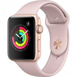 Apple Watch 42mm Series 3 GPS Gold Aluminum Case with Pink Sand Sport Band - Gold (MQL22)