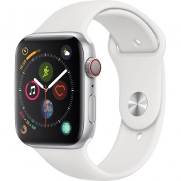 Apple Watch 44mm Series 4 GPS+Cellular Silver Aluminum Case with White sport Band (MTUU2)