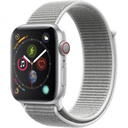 Apple Watch 44mm Series 4 GPS+Cellular Silver Aluminum Case with Seashell sport Band (MTUV2)