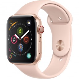Apple Watch 44mm Series 4 GPS+Cellular Gold Aluminum Case with Pink Sand sport Band (MTV02)