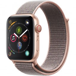 Apple Watch 44mm Series 4 GPS+Cellular Gold Aluminum Case with Pink Sand sport Band (MTV12)