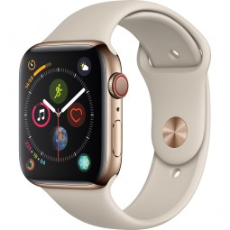 Apple Watch 44mm Series 4 GPS+Cellular Gold Stainless Steel Case with Stone sport Band (MTV72)